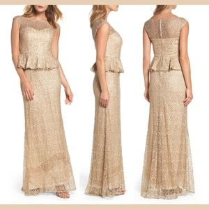 NEW La Femme Embellished Lace Peplum Gown 12 Gold